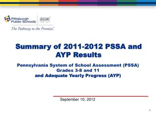 Summary of  2011-2012 PSSA and AYP  Results