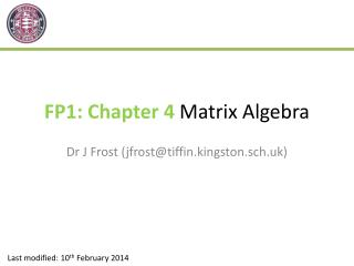 FP1: Chapter 4  Matrix Algebra