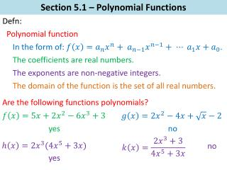 Section 5.1 – Polynomial Functions