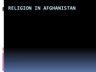Religion in Afghanistan