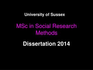 MSc in Social Research Methods