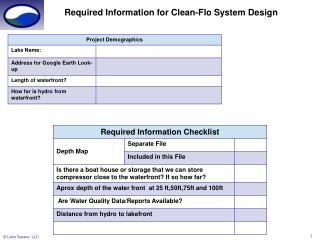 Required Information for Clean-Flo System Design