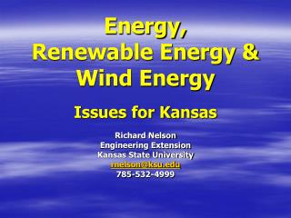 Energy,  Renewable Energy & Wind Energy Issues for Kansas