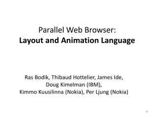 Parallel Web Browser: Layout and Animation Language