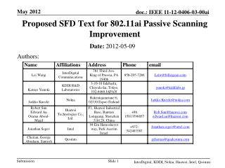 Proposed SFD Text for 802.11ai Passive Scanning Improvement