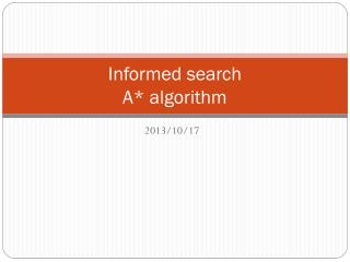 Informed search A* algorithm