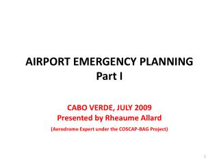 AIRPORT EMERGENCY PLANNING Part I