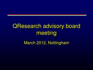 QResearch advisory board meeting