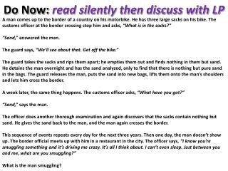 Do Now:  read silently then discuss with LP