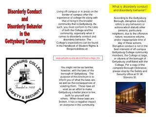 Disorderly Conduct  and  Disorderly Behavior  in the  Gettysburg Community