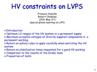 HV constraints on LVPS