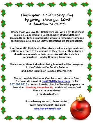 Finish your  Holiday Shopping   by giving  those you LOVE  a donation to CUMC.