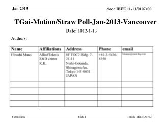TGai -Motion /Straw Poll-Jan-2013-Vancouver