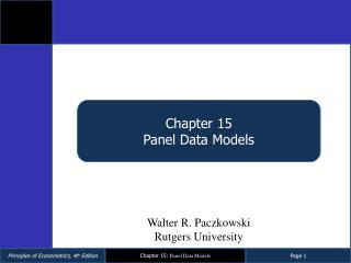 Chapter 15 Panel Data Models