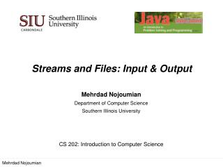 Streams and  Files:  Input & Output