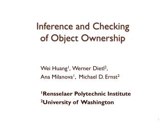 Inference and Checking of Object  Ownership
