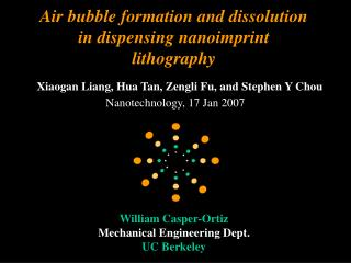 Air bubble formation and dissolution in dispensing nanoimprint lithography