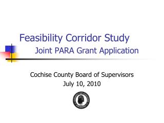 Feasibility Corridor Study Joint PARA Grant Application