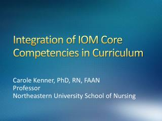 Integration of IOM Core Competencies in Curriculum