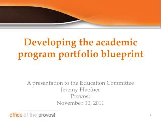 Developing the academic program portfolio blueprint