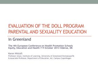 Evaluation of THE Doll program parental and sexuality education