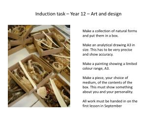 Induction task –  Y ear 12 – Art and design