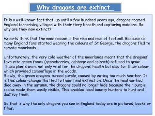 Why dragons are extinct