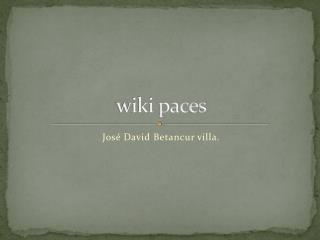 wiki paces