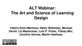 ALT Webinar:  The Art and Science of Learning Design