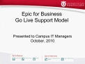 Epic for Business  Go Live Support Model