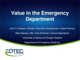 Value in the Emergency Department