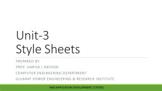 Unit-3  Style Sheets