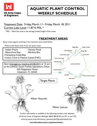 AQUATIC PLANT CONTROL WEEKLY  SCHEDULE