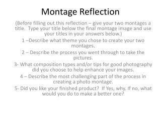 Montage  Reflection