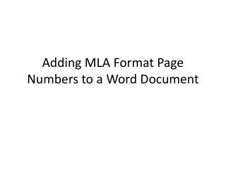Adding MLA Format Page Numbers to a Word Document