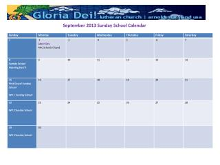 September 2013 Sunday School Calendar