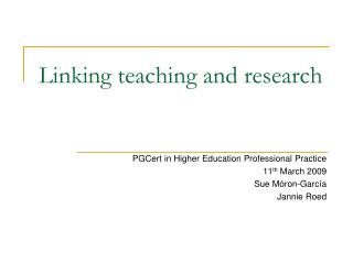 Linking teaching and research