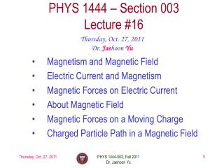 PHYS 1444 – Section  003 Lecture  #16
