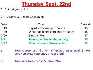 Thursday , Sept. 22nd