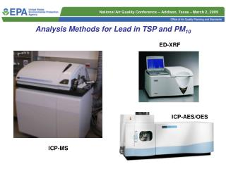 Analysis Methods for Lead in TSP and PM 10