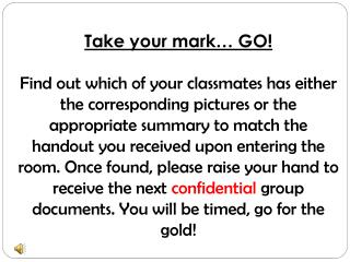 Take your mark… GO!