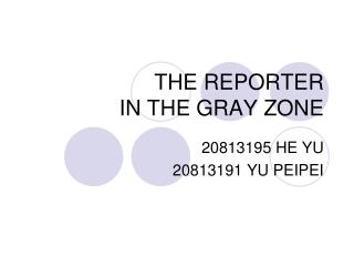THE REPORTER IN THE GRAY ZONE