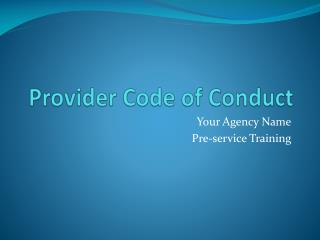 Provider Code of Conduct
