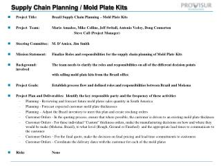 Supply Chain Planning / Mold Plate Kits