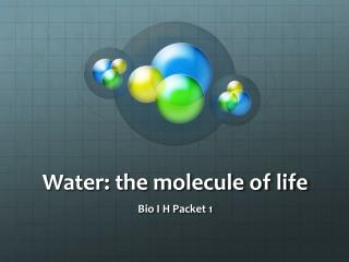 Water: the molecule of life