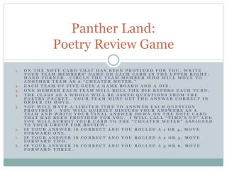 Panther Land:   Poetry Review Game
