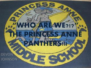 """WHO ARE WE?!?"" THE PRINCESS ANNE PANTHERS!!!"