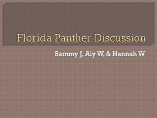 Florida Panther Discussion