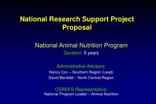 National Research Support Project Proposal