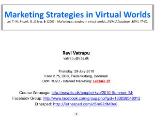 Marketing Strategies in Virtual Worlds